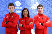 (l-r) Thomas Muirhead, Eve Muirhead and Glenn Muirhead pose during the Team GB Kitting Out Ahead Of Pyeongchang 2018 Winter Olympic Gamesast Adidas headquarters on January 24, 2018 in Stockport, England.