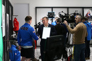 Jerry Rice is interviewed during Team GB Kitting Out Ahead Of Pyeongchang 2018 Winter Olympic Games on January 22, 2018 in Stockport, England.