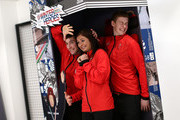 (l-r) Glenn Muirhead, Eve Muirhead and Thomas Muirhead pose during the Team GB Kitting Out Ahead Of Pyeongchang 2018 Winter Olympic Gamesast Adidas headquarters on January 24, 2018 in Stockport, England.