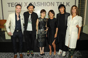 (L-R) Samsung Head of Industrial Design Howard Nuk, Diesel Licensing Creative Director Andrea Rosso, Executive Vice President of Global Marketing for Samsung Mobile Communications Younghee Lee, fashion journalist Alina Cho, Harper's BAZAAR Creative Director Stephen Gan and Harper's BAZAAR Global Fashion Director Carine Roitfeld attend Tech x Fashion Talk Powered by Samsung on September 6, 2014 in New York City.