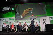 Keith Rabois, Marissa Mayer, David Lee, Chris Dixon, Hatem Zeine and Michael Arrington (L-R) attend Day 3 of TechCrunch Disrupt SF 2013 at San Francisco Design Center on September 11, 2013 in San Francisco, California.