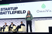 OmniVis Founder Katherine Clayton (R) speaks onstage during TechCrunch Disrupt San Francisco 2019 at Moscone Convention Center on October 04, 2019 in San Francisco, California.