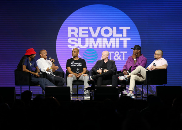 REVOLT X AT&T Host REVOLT 3-Day Summit In Los Angeles - Day 2 [event,sky,performance,convention,music,stage,talent show,world,team,al harrington,david elias,karim webb,snoop dogg,jason white,l-r,los angeles,revolt x,at t,host revolt]
