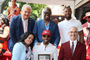 (L-R) Jeff Zarrinnam, Hollywood Chamber of Commerce president and CEO Rana Ghadban, Andre Harrell, Teddy Riley, Tank and Mitch O'Farrell attend as Teddy Riley is honored with a Star on the Hollywood Walk of Fame on August 16, 2019 in Hollywood, California.  on August 16, 2019 in Hollywood, California.