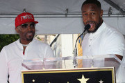 Teddy Riley (L) and Tank attend as Teddy Riley is honored with a Star on the Hollywood Walk of Fame on August 16, 2019 in Hollywood, California.  on August 16, 2019 in Hollywood, California.
