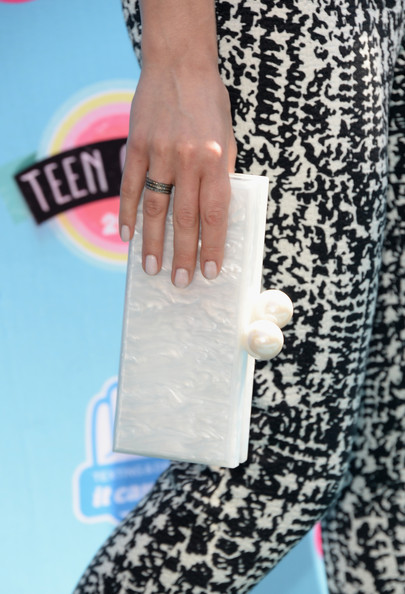 Actress Crystal Reed (fashion detail) attends the Teen Choice Awards 2013 at Gibson Amphitheatre on August 11, 2013 in Universal City, California.