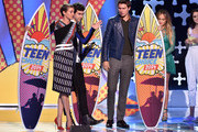 (L-R) Actors Shailene Woodley, Nat Wolff, and Ansel Elgort onstage during FOX's 2014 Teen Choice Awards at The Shrine Auditorium on August 10, 2014 in Los Angeles, California.