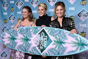 (L-R) Actors Andrea Barber, Jodie Sweetin and Candace Cameron-Bure pose with the Choice TV Comedy award for 'Fuller House' in the press room during Teen Choice Awards 2016 at The Forum on July 31, 2016 in Inglewood, California.