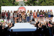 (L-R) Leigh-Anne Pinnock, Jesy Nelson, Perrie Edwards, and Jade Thirlwall of Little Mix, and actress Bella Thorne and Editor-in-chief of Teen Vogue Amy Astley speak onstage at Teen Vogue's Back-to-School Saturday kick-off event at The Grove on August 9, 2013 in Los Angeles, California.