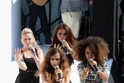 (L-R) Singers Perrie Edwards, Jade Thirlwall, Jesy Nelson and  Leigh-Anne Pinnock of Little Mix perform at Teen Vogue's Back-to-School Saturday kick-off event at The Grove on August 9, 2013 in Los Angeles, California.