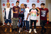 (L-R) Jai Brooks and James Yammouni of The Janoskians, Editor-in-chief of Teen Vogue Amy Astley, Beau Brooks, Daniel Sahyounie, and Luke Brooks of The Janoskians attend Teen Vogue's Back To School Saturdays Kick-Off at Del Amo Fashion Center on August 8, 2014 in Torrance, California.