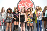 (L-R) Leigh-Anne Pinnock, Jesy Nelson, Perrie Edwards, and Jade Thirlwall of Little Mix, and actress Bella Thorne speak onstage at Teen Vogue's Back-to-School Saturday kick-off event at The Grove on August 9, 2013 in Los Angeles, California.