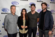 "(L-R) Producer Brad Fuller, actors Megan Fox, Stephen Amell and producer Andrew Form attend a panel at Wonder Con to promote the upcoming release of Paramount Pictures' ""Teenage Mutant Ninja Turtles – Out of The Shadows"", on March 25, 2016 at the LA Convention Center in Los Angeles, California."