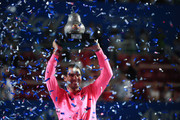 Rafael Nadal of Spain celebrates with the winner's trophy after defeating Taylor Fritz of the United States during Day 6 of the ATP Mexican Open at Princess Mundo Imperial on February 29, 2020 in Acapulco, Mexico.