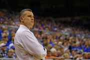 Head coach Billy Donovan of the Florida Gators  looks on during the first half of the game against the Tennessee Volunteers at the Stephen C. O'Connell Center on February 28, 2015 in Gainesville, Florida.