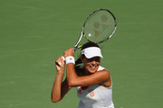 Ana Ivanovic of Serbia in action against Carla Suarez Navarro of Spain in their first round match on Day 1 of the Rio 2016 Olympic Games at the Olympic Tennis Centre on August 6, 2016 in Rio de Janeiro, Brazil.