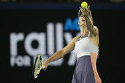 Caroline Wozniacki of Denmark serves during the Rally for Relief Bushfire Appeal event at Rod Laver Arena on January 15, 2020 in Melbourne, Australia.