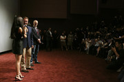 Alan Taylor speaks to audience with Betty Zhou and Arnold Schwarzenegger at the event screening of the Terminator Genisys on August 18, 2015 in Shanghai, China.