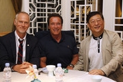 (L to R) Alan Taylor, Arnold Schwarzenegger and Chinese director Ng See Yuen pose for a picture before the event screening of the Terminator Genisys on August 18, 2015 in Shanghai, China.
