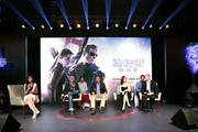 (L to R) Betty Zhou, Alan Taylor, Director, Arnold Schwarzenegger, Jane Zhang, and Rob Moore, Vice President of Paramount, reacts at the press conference of Terminator Genisys on August 21, 2015 in Shanghai, China. (Photo by Kevin Lee/Getty Images for Paramount Pictures International)
