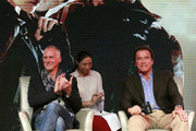 Alan Taylor, Director, and Arnold Schwarzenegger react at the press conference of Terminator Genisys on August 21, 2015 in Shanghai, China.