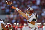 Trevor Knight #8 of the Texas A&M Aggies passes against the Alabama Crimson Tide at Bryant-Denny Stadium on October 22, 2016 in Tuscaloosa, Alabama.