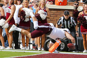 Quarterback Trevor Knight #8 of the Texas A&M Aggies dives in for a touchdown during the first half of an NCAA college football game against the Mississippi State Bulldogs at Davis Wade Stadium on November 5, 2016 in Starkville, Mississippi.