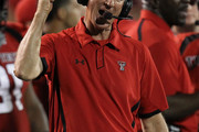 Head coach Tommy Tuberville of the Texas Tech Red Raiders reacts on the sidelines during play against the Texas Longhorns at Jones AT&T Stadium on September 18, 2010 in Lubbock, Texas.
