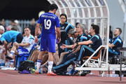 Diego Costa and Jose Mourinho team manager of Chelsea FC looks during the international friendly match between Thailand All-Stars and Chelsea FC at Rajamangala Stadium on May 30, 2015 in Bangkok, Thailand.