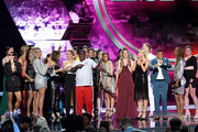 Host Tracy Morgan (C) speaks after the United States Women's National Soccer Team accepted the Best Team award onstage during The 2019 ESPYs at Microsoft Theater on July 10, 2019 in Los Angeles, California.