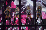 (EDITORIAL USE ONLY) Jesy Nelson, Perrie Edwards, Jade Thirlwall and Leigh-Anne Pinnock of Little Mix perform on stage at The BRIT Awards 2017 at The O2 Arena on February 22, 2017 in London, England.