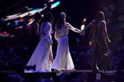 *** EDITORIAL USE ONLY IN RELATION TO THE BRIT AWARDS 2018 *** (R-L) Jade Thirlwall, Leigh Anne Pinnock, Perrie Edwards and Jesy Nelson of Little Mix on stage at The BRIT Awards 2018 held at The O2 Arena on February 21, 2018 in London, England.