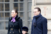 (L-R) Crown Princess Victoria of Sweden, Princess Estelle and Prince Daniel, Duke of Vastergotland participate in a celebration for the crown princess name day at the Stockholm Royal Palace on March 12, 2018 in Stockholm, Sweden.