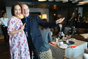 Actor Greta Lee and art critic Jerry Saltz prepare in the green room during The Cut's How I Get It Done at 1 Hotel Brooklyn Bridge on March 4, 2019 in Brooklyn, New York.