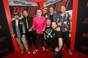"""Dimitry Elyashkevich, Rick Kosick, Chris Pontius, Jeff Tremaine, Steve-O, Dave England, Jason Acuna and Ehren McGhehey attends the premiere of Netflix's 'The Dirt"""" at the Arclight Hollywood on March 18, 2019 in Hollywood, California."""