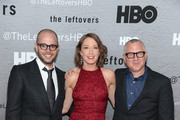 """(L-R) Damon Lindelof, actress Carrie Coon and Tom Perrotta attend """"The Leftovers"""" premiere at NYU Skirball Center on June 23, 2014 in New York City."""