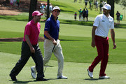 Jose Maria Olazabal of Spain, Gonzalo Fernandez-Castano of Spain and Alvaro Quiros of Spain walk together during a practice round prior to the start of the 2012 Masters Tournament at Augusta National Golf Club on April 2, 2012 in Augusta, Georgia.