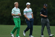 (L-R) Simon Dyson of England, Paul Casey of England and Graeme McDowell of Northern Ireland during a practice round prior to the start of the 2012 Masters Tournament at Augusta National Golf Club on April 3, 2012 in Augusta, Georgia.