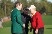 (L-R) Fred Ridley, Chairman of Augusta National Golf Club, Gary Player of South Africa and Jack Nicklaus of the United States take part in the opening tee ceremony prior to the first round of the 2018 Masters Tournament at Augusta National Golf Club on April 5, 2018 in Augusta, Georgia.