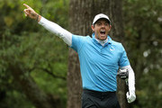 Rory McIlroy of Northern Ireland reacts on the second tee during the third round of the 2018 Masters Tournament at Augusta National Golf Club on April 7, 2018 in Augusta, Georgia.