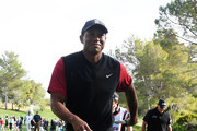 Tiger Woods of the United States reacts as he walks off of the first green after winning a 200,000 bet against Phil Mickelson during The Match: Tiger vs Phil at Shadow Creek Golf Course on November 23, 2018 in Las Vegas, Nevada.