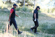 Tiger Woods and Phil Mickelson walk from the 14th tee during The Match: Tiger vs Phil at Shadow Creek Golf Course on November 23, 2018 in Las Vegas, Nevada.