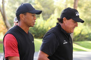 Phil Mickelson and Tiger Woods walk to the tenth tee during The Match: Tiger vs Phil at Shadow Creek Golf Course on November 23, 2018 in Las Vegas, Nevada.