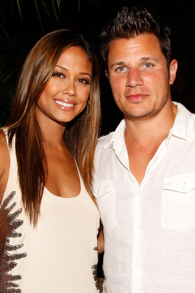 Vanessa Minnillo (L) and singer Nick Lachey attend the 2010 Maxim Party at The Raleigh on February 6, 2010 in Miami, Florida.
