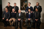 """(L-R back) John Goodman, George Clooney, Matt Damon, Bill Murray (L-R front) Jean Dujardin, Bob Balaban Harry Ettlinger, Dimitri Leonidas and Grant Heslov pose in front of the painting 'Cupid Complaining to Venus' by Lucas Cranach the Elder as they attend a photocall for """"The Monuments Men"""" at The National Gallery on February 11, 2014 in London, England. The painting was once part of Adolf Hitler's private collection."""