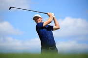Justin Rose of England plays his shot from the first tee  during the final round of The Northern Trust at Liberty National Golf Club on August 11, 2019 in Jersey City, New Jersey.