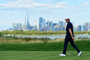 Justin Rose of England walks on the 14th hole during the final round of The Northern Trust at Liberty National Golf Club on August 11, 2019 in Jersey City, New Jersey.