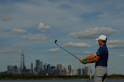 Brandt Snedeker of the United States plays his shot from the 14th tee  during the final round of The Northern Trust at Liberty National Golf Club on August 11, 2019 in Jersey City, New Jersey.
