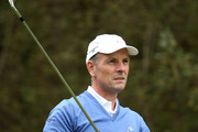 David Higgins of the Great Britain and Ireland PGA Cup team in action during the singles matches on the final day of the 28th PGA Cup at Foxhills Golf Course on September 17, 2017 in Ottershaw, England.