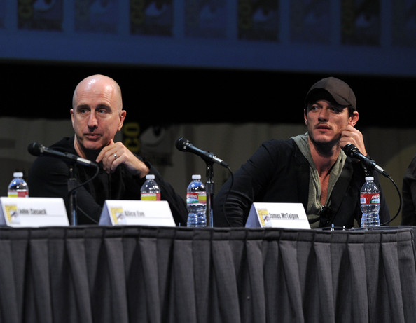 "Director James McTeigue and actor Luke Evans speak at ""The Raven"" Panel during Comic-Con 2011 on July 22, 2011 in San Diego, California."